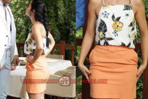 No 309 Lale turuncu mini etek ve desenli bluz kombini desenli bluz markası ADL