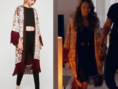 Çukur Sena uzun püsküllü kimoono Zara markadır.