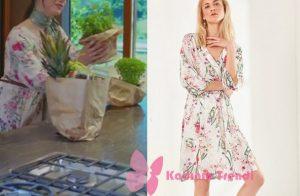 Dolunay Dizi Kıyafetleri Dolunay 2. bölüm Nazlı beyaz çiçek desenli elbise Trendyol Milla marka