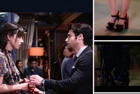 Dolunay Nazlı Kıyafetleri 12-13-14. Bölümler Dolunay Özge Gürel'in-bordo topuklu ayakkabıları İlvi marka. Özge Gürel siyah minik çanta Aigner markadır.