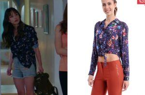 Dolunay 4. Bölüm Nazlı lacivert çiçekli Gömlek markası Batik Dolunay Nazlı Kıyafetleri