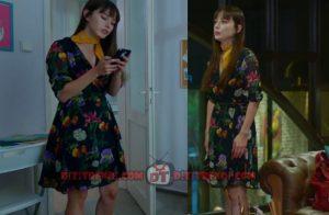 Dolunay Nazlı Kıyafetleri Dolunay 4. bölüm Nazlı çiçekli siyah elbise ve sarı şal kombini