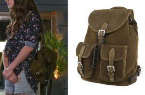 Dolunay Nazlı Kıyafetleri Dolunay 4. bölüm Nazlı kahve rengi sırt çantası Tulla markadır