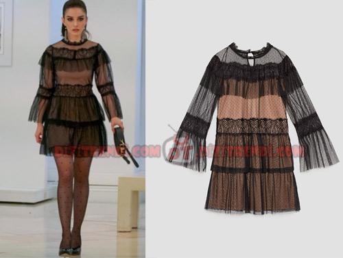 Dolunay Nazlı Kıyafetleri 15- 16-17. Bölümler Nazlı'nın giydiği dantelli ve tül kumaşlı siyah elbise markası Zara.