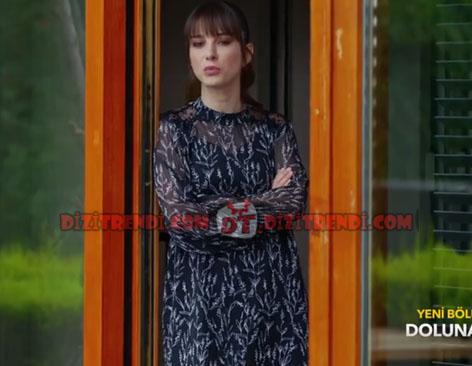 Dolunay Nazlı Kıyafetleri 9-10-11. Bölümler Dolunay Nazlı Siyah şifon elbise Zara.