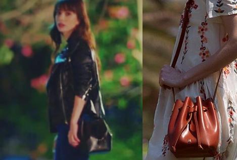 Dolunay Nazlı Kıyafetleri 12-13-14. Bölümler Dolunay Nazlı siyah çanta Maera Design İstanbul marka.