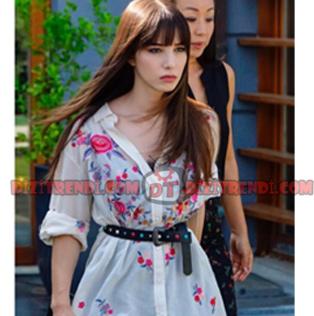 Dolunay Nazlı Kıyafetleri 12-13-14. Bölümler Nazlı desenli uzun beyaz gömlek markası Zara.