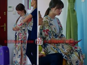 Dolunay Nazlı Kıyafetleri Nazlı'nın giydiği Desneli yandan derin yırtmaçlı kimono hangi marka? Zara Marka.